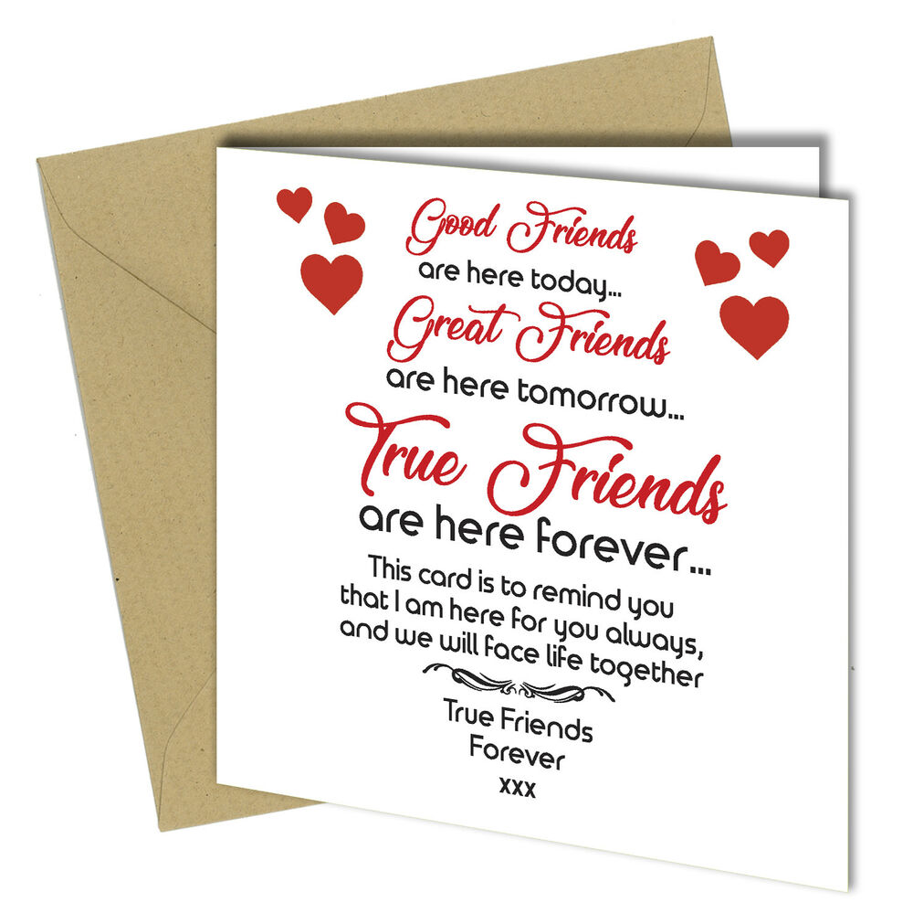 Details About 709 FRIENDSHIP CARD Best Friends Birthday Xmas Thank You Greeting Card 6x6