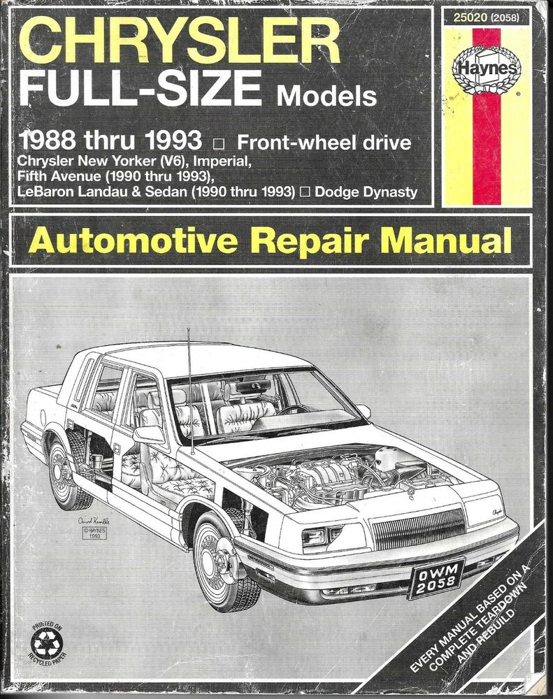 Haynes Chrysler Full-Size Models 1988-1993, Front Wheel Drive Auto Repair  Manual 9781563920585 | eBay