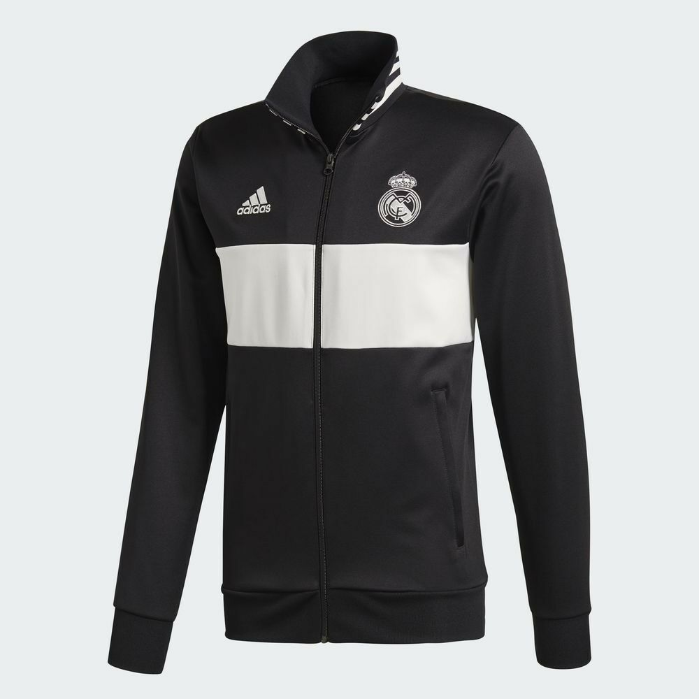 dc1a8cdb7 Details about 🔥 adidas Men s Soccer Real Madrid 3-Stripes Track Jacket  Black White Medium NWT