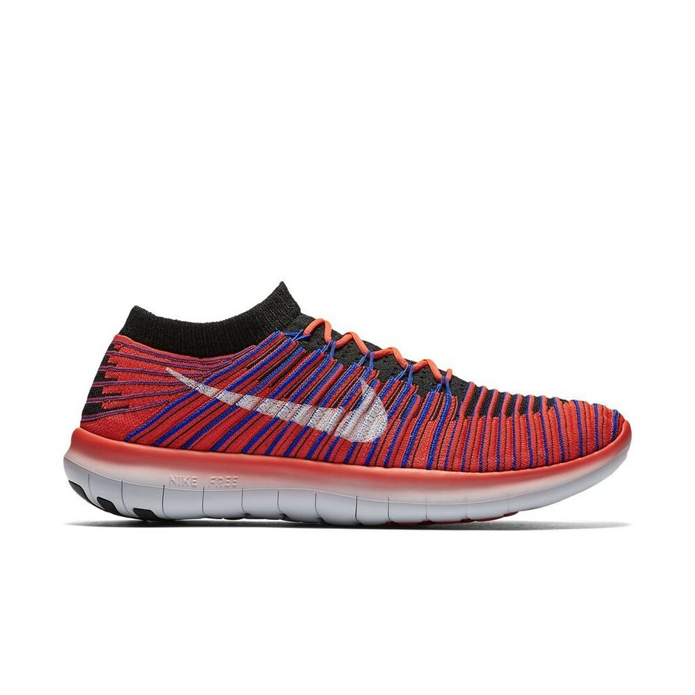 3a228b5baa8b Details about Nike Men s Free Run Motion Flyknit- Bright Crimson Racer Blue  Black (834584-600)