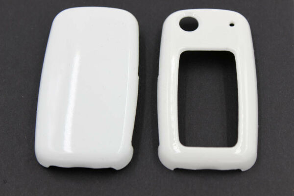 White Glossy Remote Flip Key Cover Shell Fob Protection Case Fit For VW SKODA