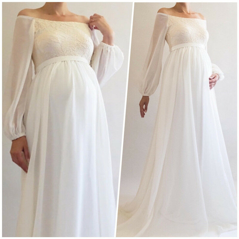 Short Maternity Wedding Dresses: Boho Maternity Wedding Dress Bridal Gown Long Sleeve Off