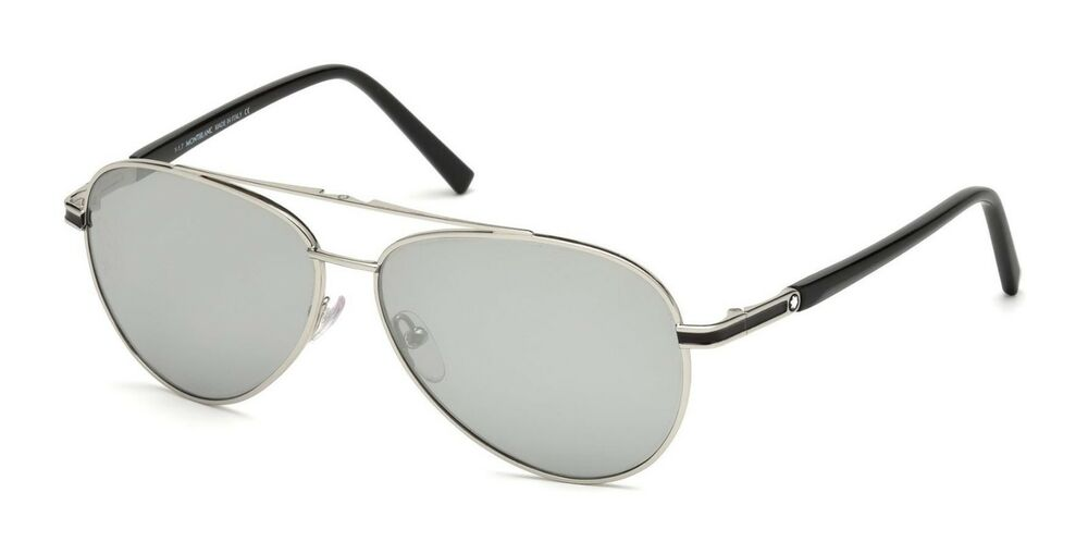 27d02dcda Details about NWT Montblanc Sunglasses MB 702S 16C Shiny Palladium / Smoke  Mirror 59 mm MB702S