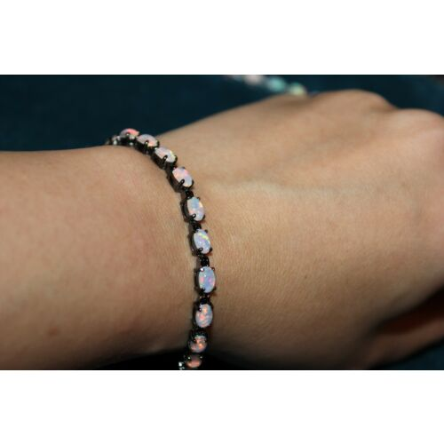 lab-fire-opal-silver-filled-black-gold-filled-bracelet-jewelry-cocktail-design