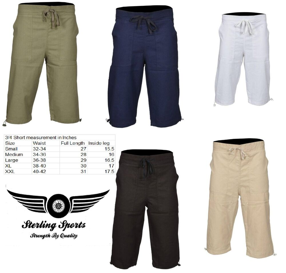 eefb7e541a3 Details about Mens 3 4 Length Cotton Shorts Casual Pants Summer Holiday  Beach Bottom S M L XL