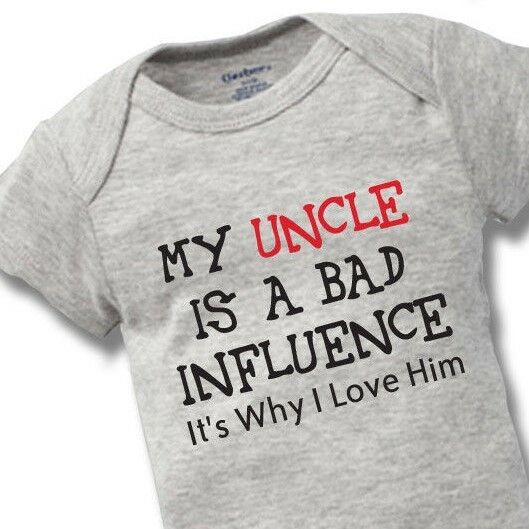 eb29d385b Details about My Uncle Bad Influence Onesies Baby Gift Funny Cute Brother Boy  Girl Clothes