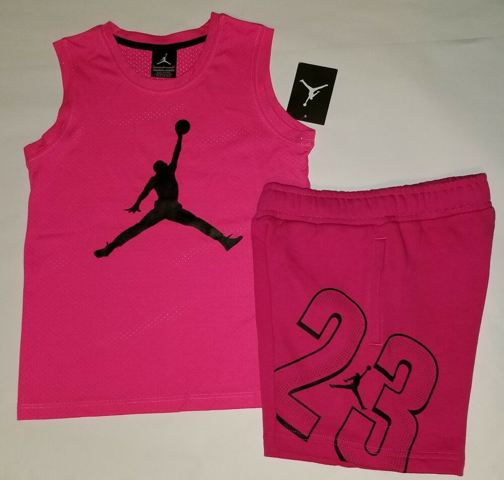 9dd24e67f978 Details about Nike Air Jordan Girls 2 PC Set Shirt Tee   Shorts Outfit Size  Small