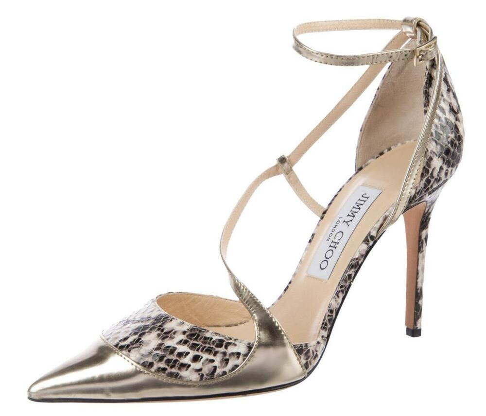 982e1680422 Details about  775 NIB NEW JIMMY CHOO Snakeskin MUTYA 37.5 Metallic Strappy  Heels Shoes