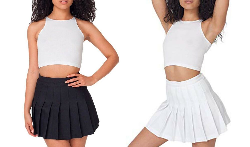 752c29fd70 Details about Womens Black White American Apparel Pleated Tennis School Mini  Skirt