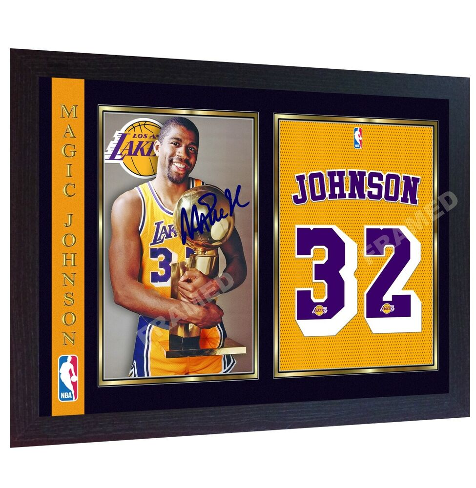 ea88e64c1 Details about Magic Johnson signed autograph NBA Los Angeles Lakers photo  print poster Framed