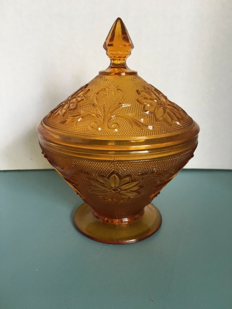 Vintage Amber 7 Quot Glass Pedestal Candy Dish Bowl With Lid