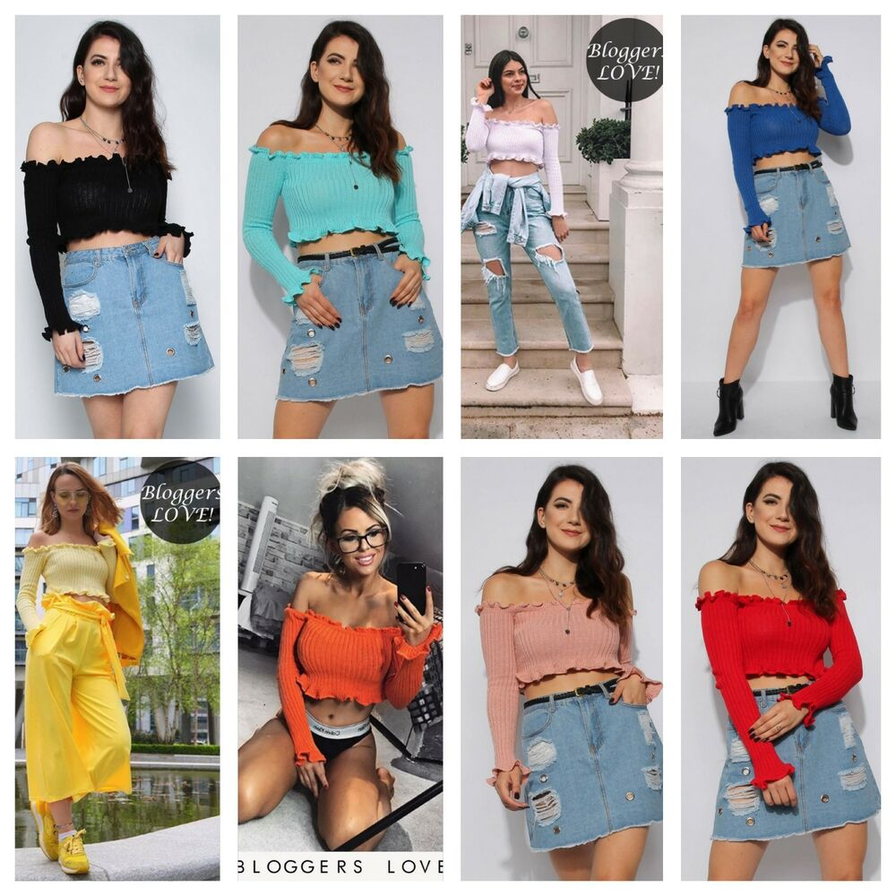 b98710f3948e Details about WOMENS LADIES SOFT KNIT RIBBED LONG SLEEVE RUFFLE BARDOT OFF  SHOULDER CROP TOP