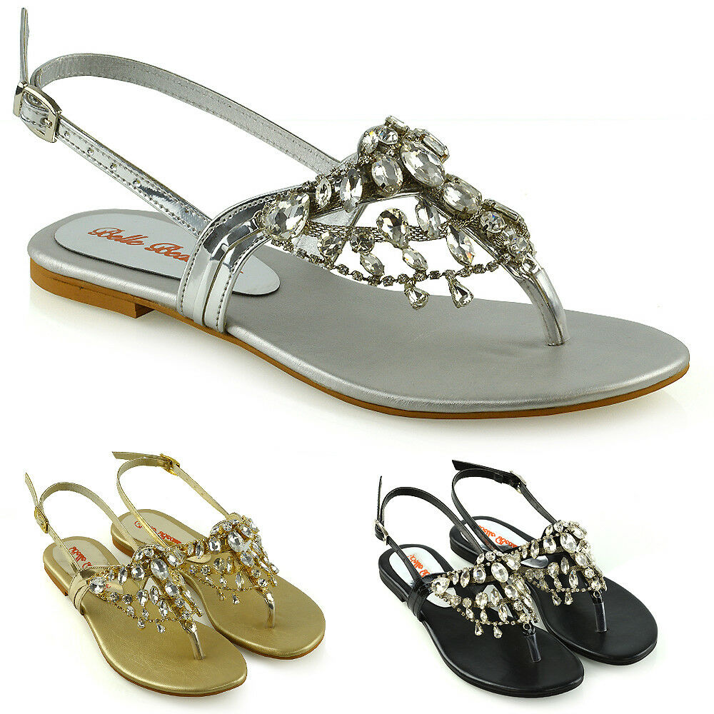 f910db0d9172 Details about Womens Toe Post Sandals Summer Ladies Dangly Sparkly Diamante  Holiday Slingback