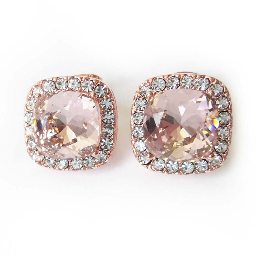 e2574072b Details about Blush Rose Gold Halo Stud Earrings w/ 10mm Cushion Swarovski  Crystal Prom Gift