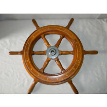 ANTIQUE AUTHENTIC  WOODEN SHIPS WHEEL YACHT BOAT NAUTICAL MARINE DECOR