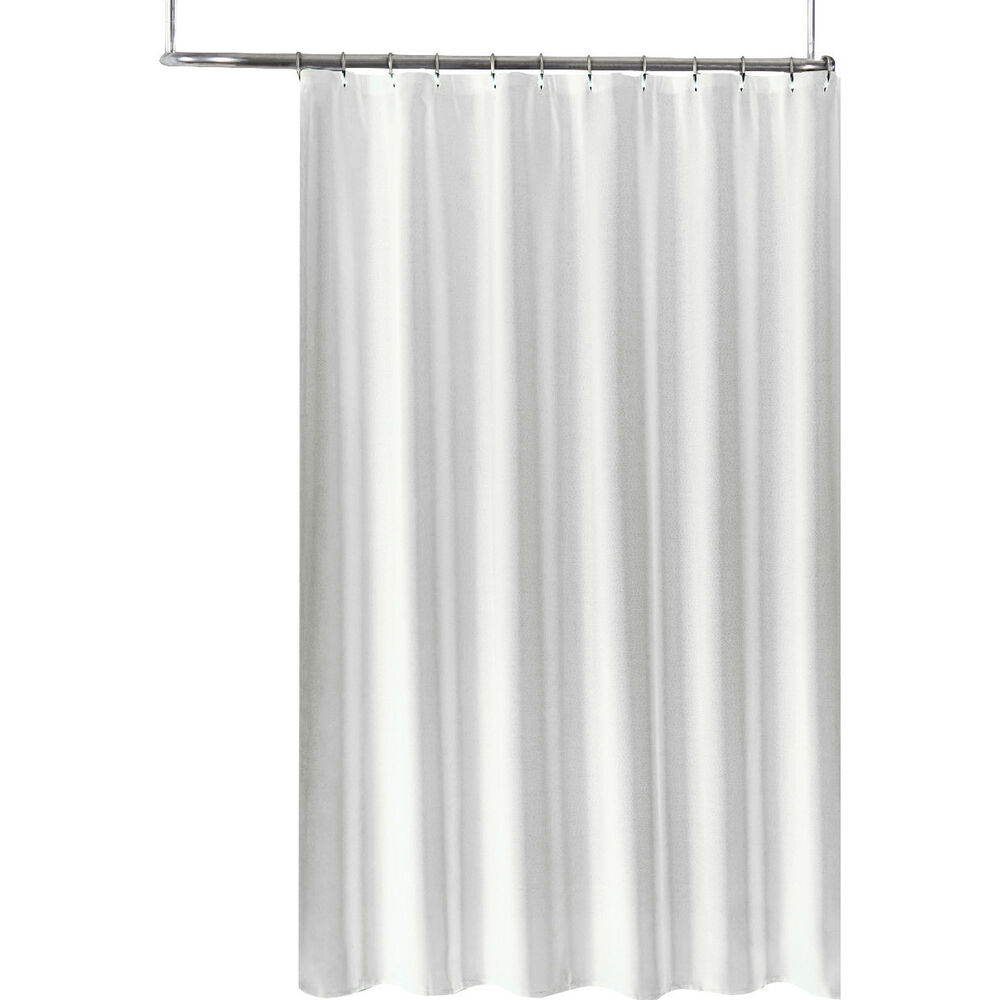 Details About Extra Long Fabric Shower Curtain Liner 70 X 84 Tone On Jacquard White