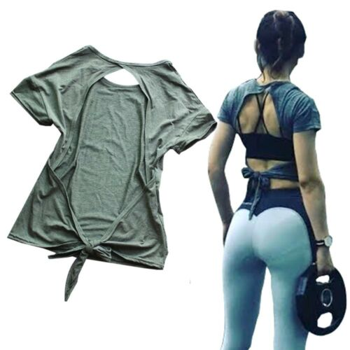 Sexy Yoga Tops Workout Clothes Split Back Open Tie Back Tee Top for Sport Women