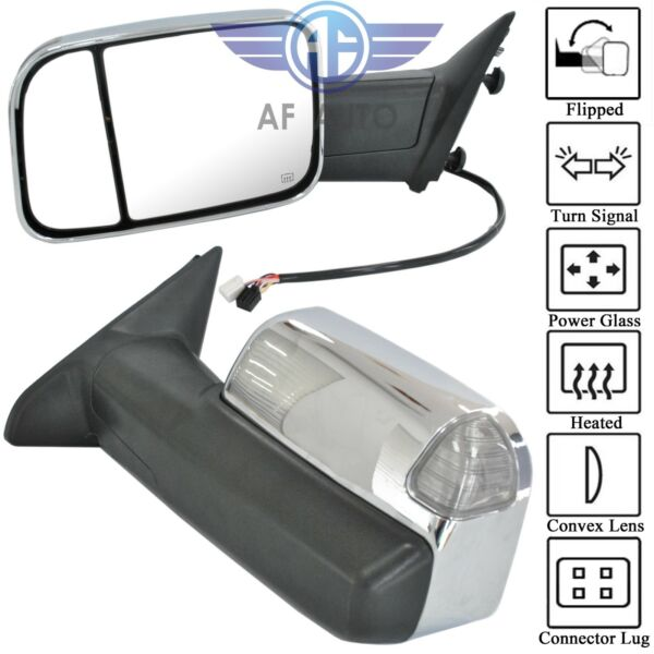 Set For 09-15 Dodge Ram 1500 2500 3500 Pickup Chrome Power Heated Towing Mirrors