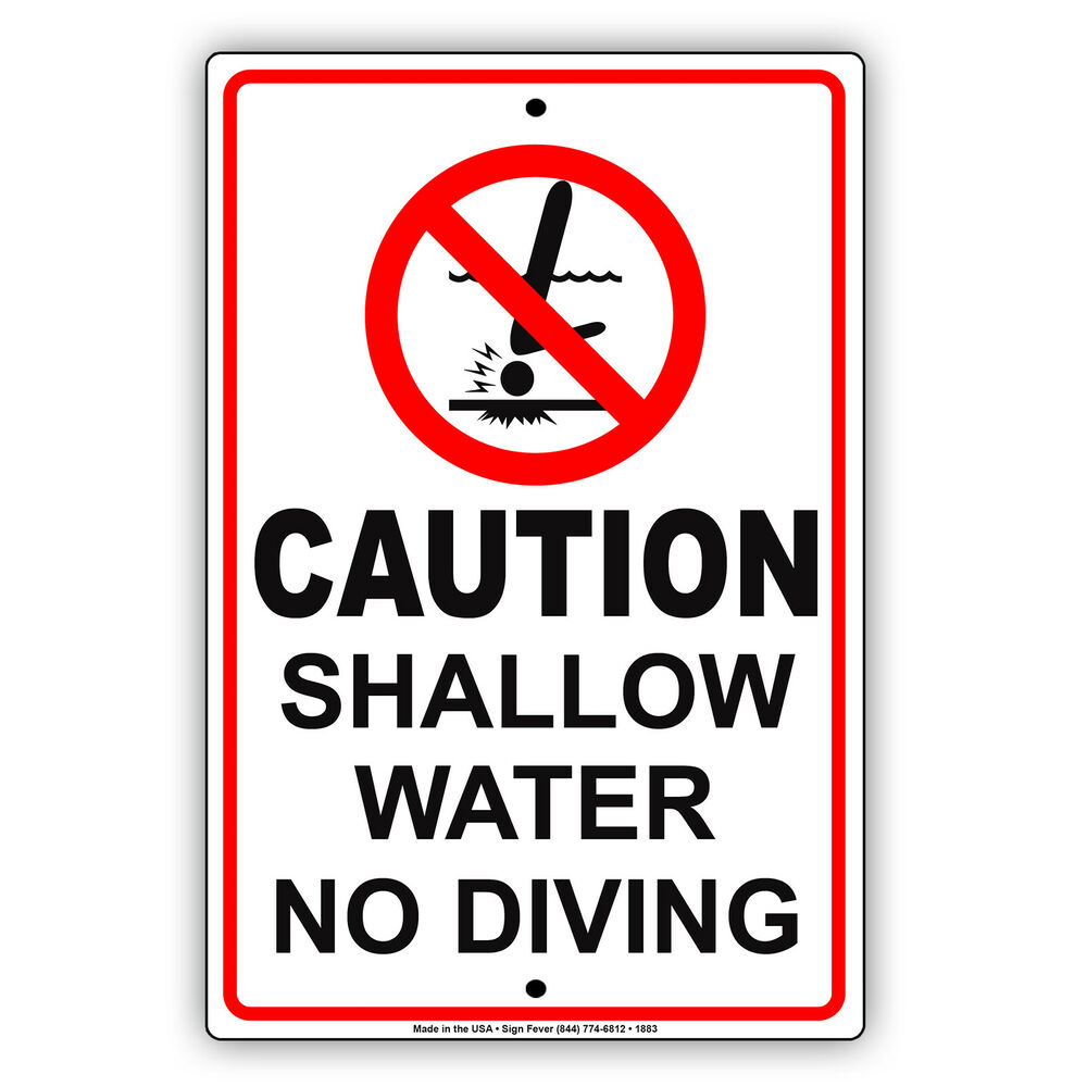 4873d7677c6d Shallow water no diving pool swim safety policy aluminum metal sign jpg  1000x1000 Diving sign