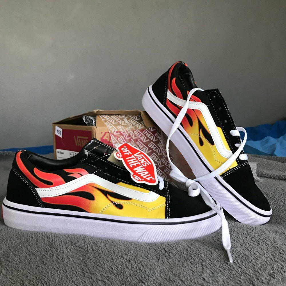 76a73d357d0f42 Details about Vans Men s Classic Rock Flames Old Skool Casual Canvas  Skateboard VN0A38G1QMK