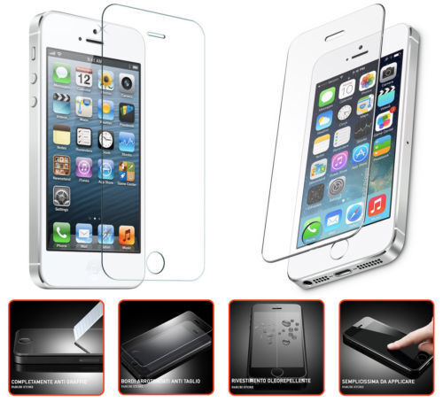 PELLICOLA PROTETTIVA PER APPLE IPHONE 5 5S SE VETRO TEMPERATO TEMPERED GLASS