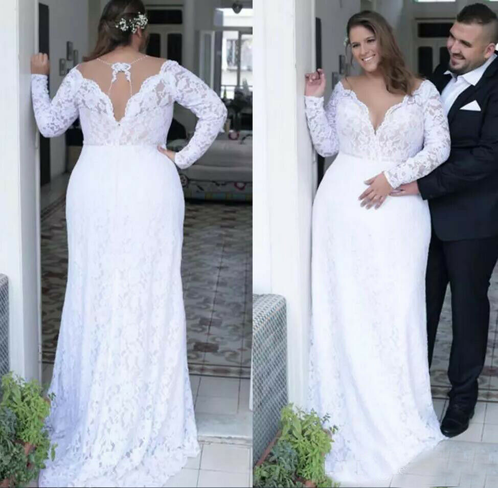 Plus Size Wedding Dress Bridal Gown V Neck Long Sleeves Lace A Line