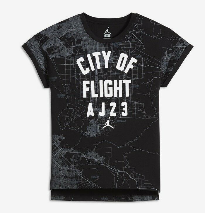 37c802d7685 Details about Nike Air Jordan Girls City of Flight Top Tee T-Shirt Size  Large