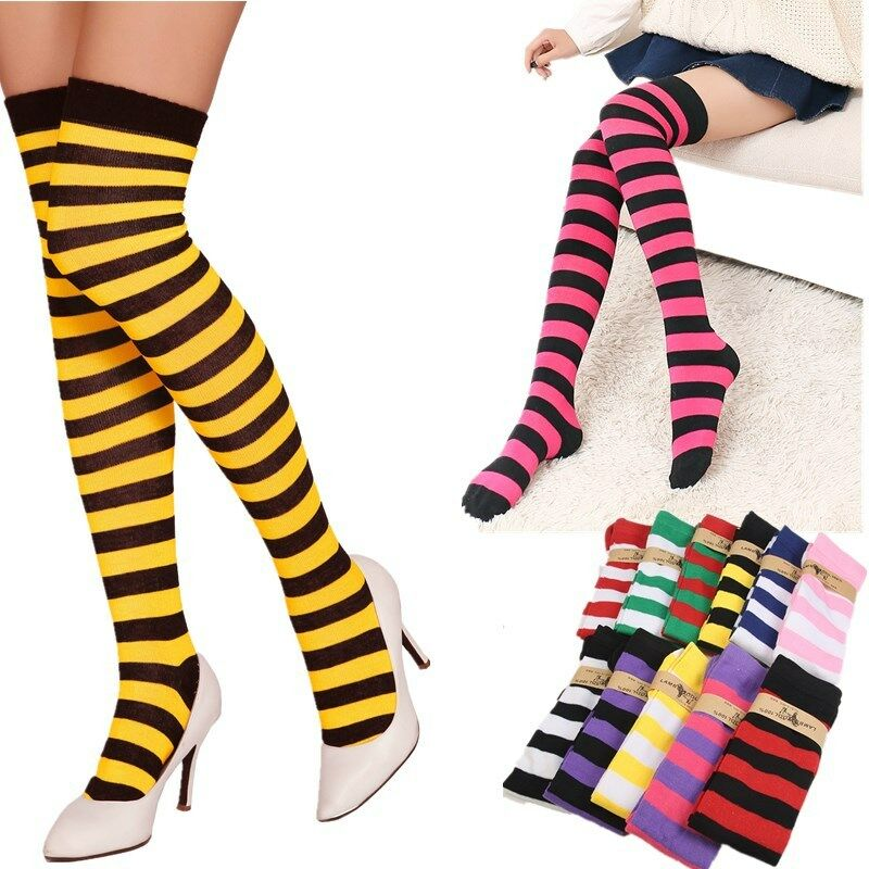 aa5429e7feda9 Details about Girl Women Sheer Striped Thigh High Stockings Plus Size Over  The Knee Socks