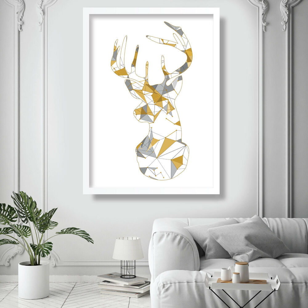 Details about geometric techno yellow grey stag deer head wall art print poster picture