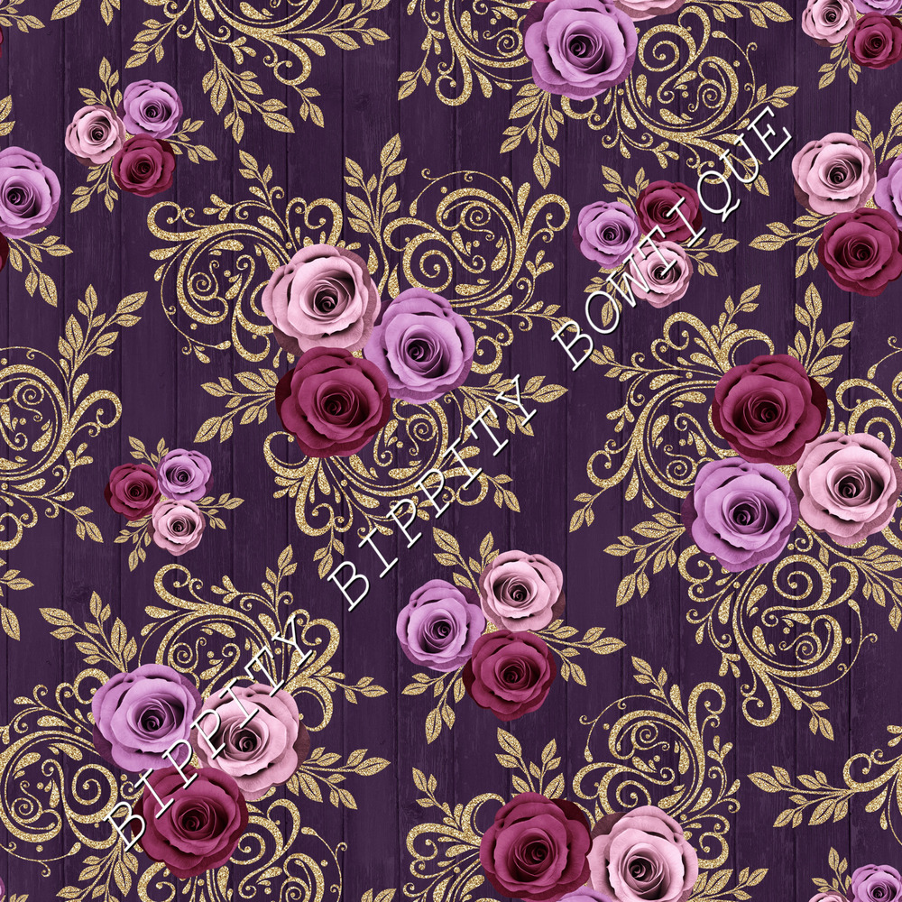 Details About Gorgeous Plum Gold Winter Rose Canvas Printed Fabric Sheet Hair Bows