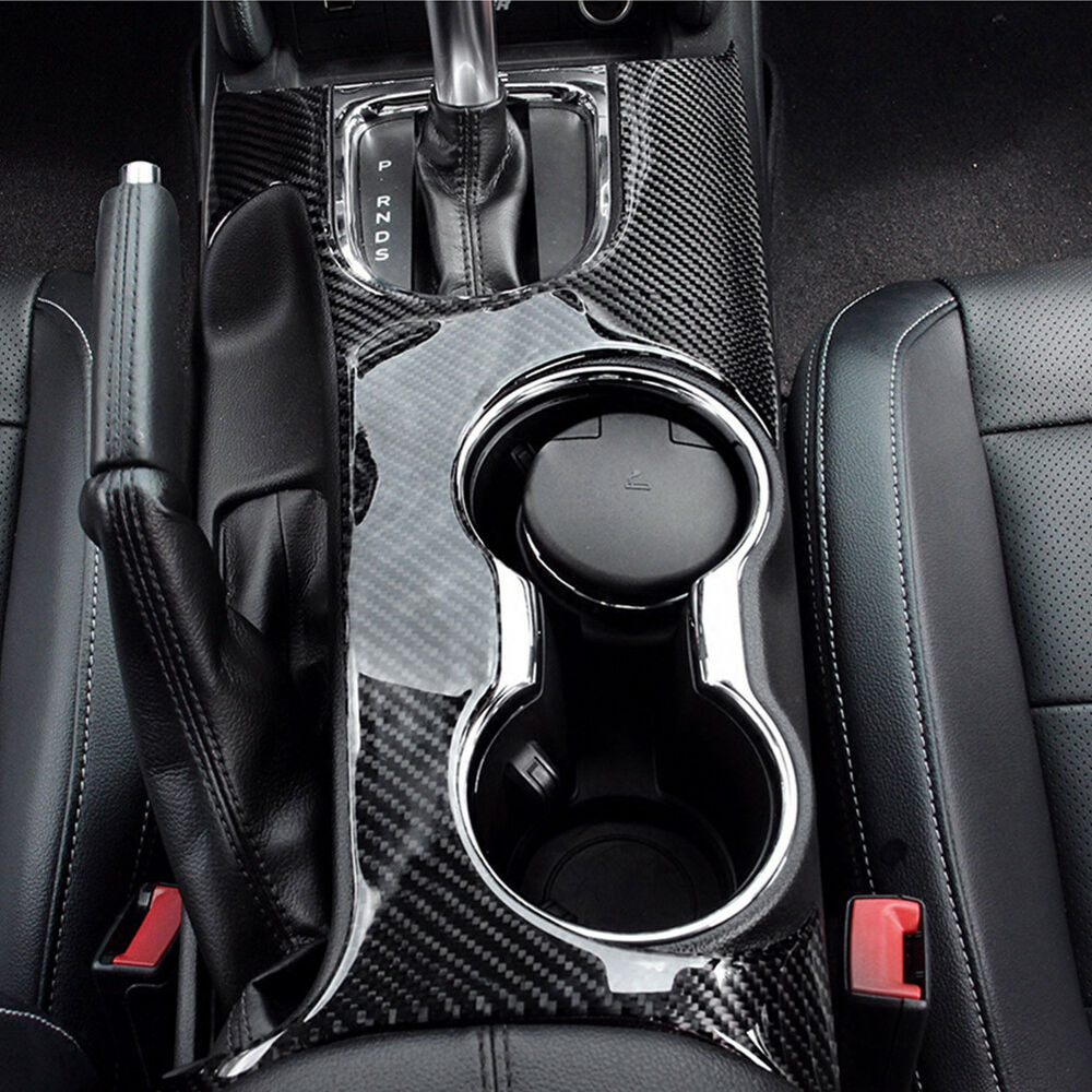Details about car gear shift knob cup panel carbon fiber trim for ford mustang 2015 2017