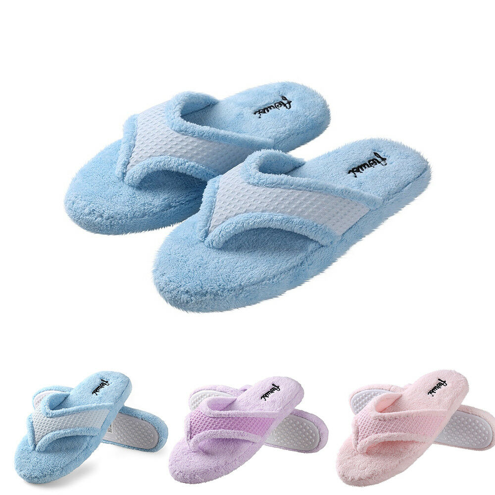 9e302f5a Details about Women Fleece Anti-Slip Thong Spa Slippers Home Flip Flops  Cozy Indoor Soft Shoes
