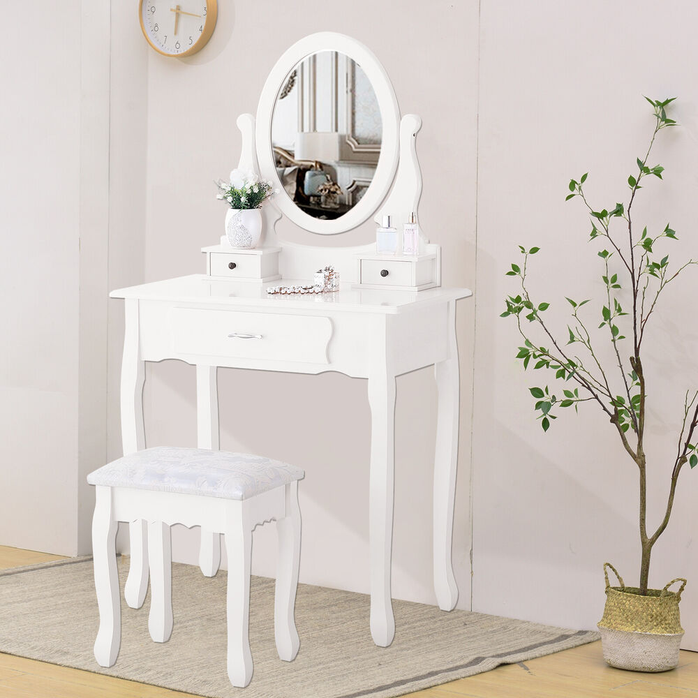 Vanity Makeup Dressing Table Set With Stool 3 Drawers