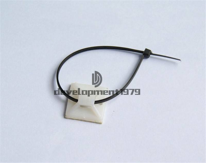 Details About 200x 20mm Self Adhesive Cable Wire Management Zip Ties Mounts Mounting Base Clip