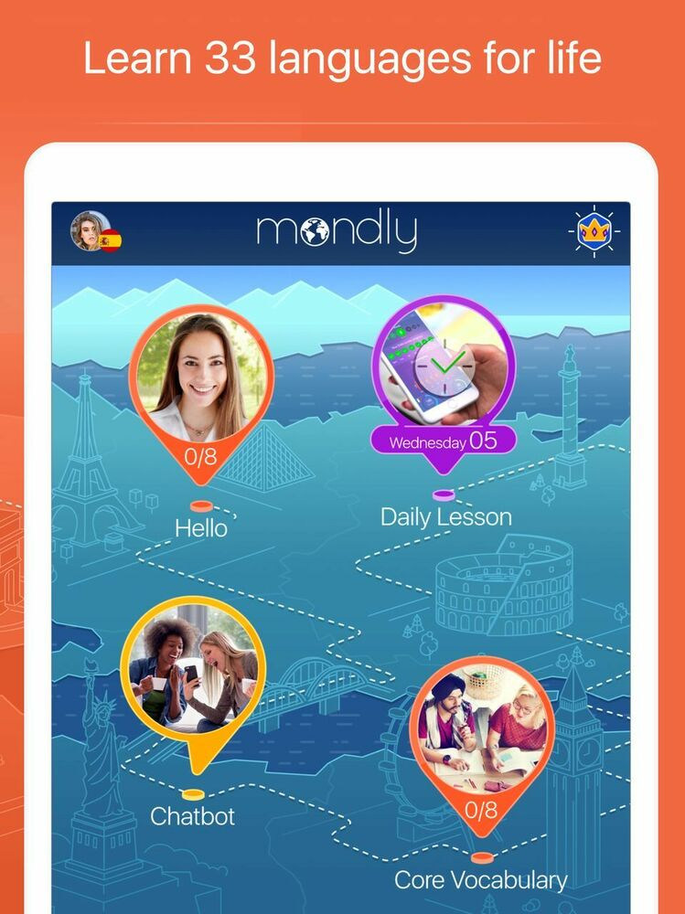 Mondly Premium 1 year learn 33 languages, web, Android, iOS,  Spanish,French  ++ | eBay