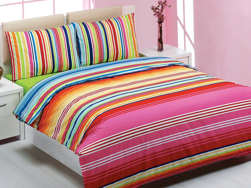 Bright Striped Duvet Cover Queen King 100 Cotton Reversible Bedding