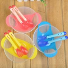 1 Set Baby Suction Bowl Anti Slip Tableware with Temperature Sensing Spoon Feed