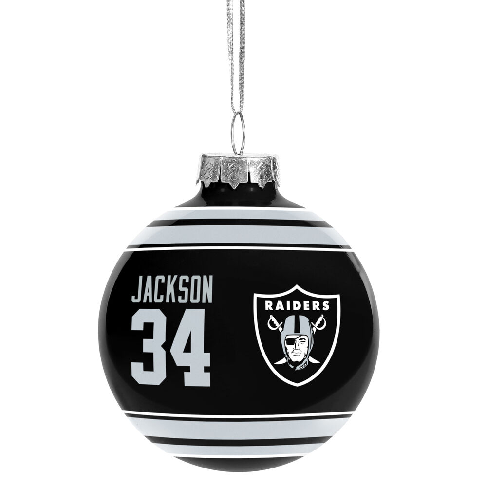 Oakland Raiders NFL Legends Bo Jackson #34 Glass Christmas Ornament ...