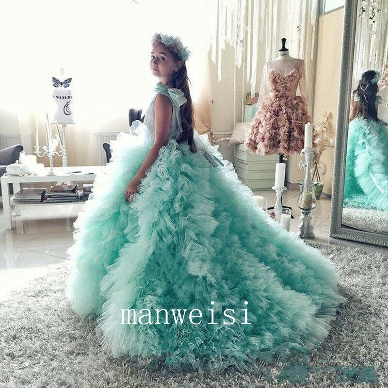 Green Flower Girl Dresses Tulle Formal Long Gowns For Kids Party Pageant  Train 96901f4bdcdd