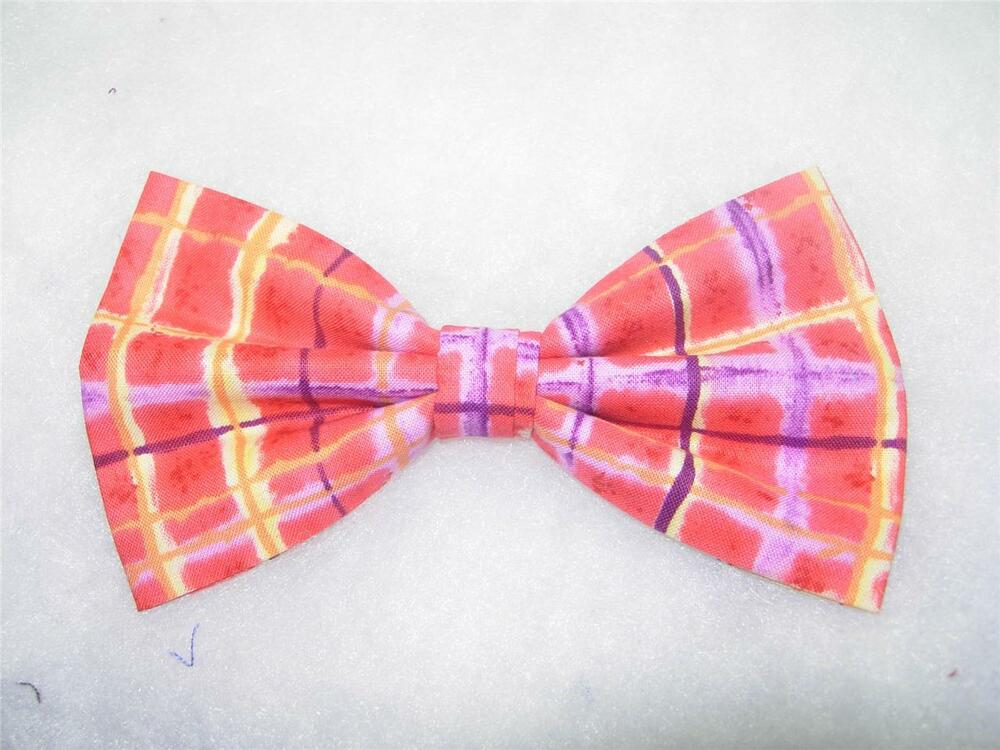 a82801fed73a Details about Trendy Red Bow tie / Whimsical Ruby Red, Purple, Yellow Plaid  / Pre-tied Bow tie