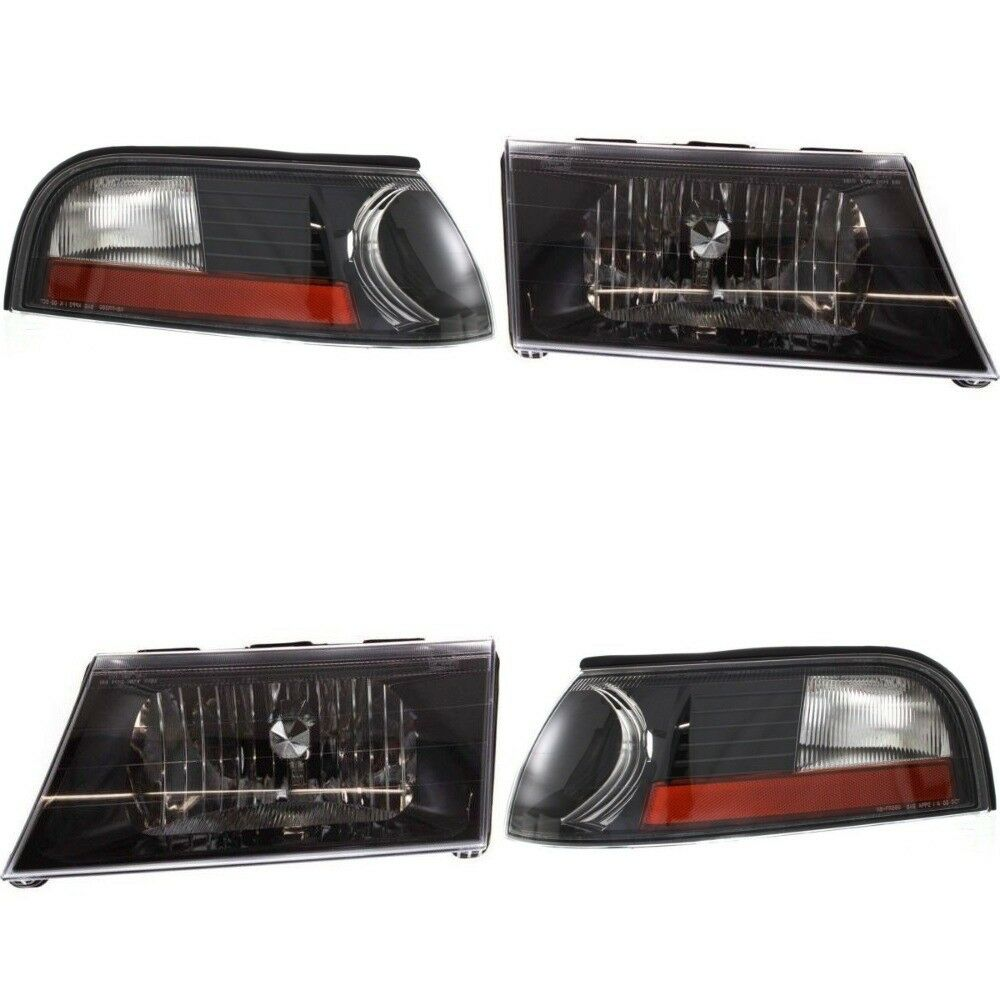 Details About Mercury Grand Marquis 2003 2004 Black Headlights Head Corner Lights Lamps