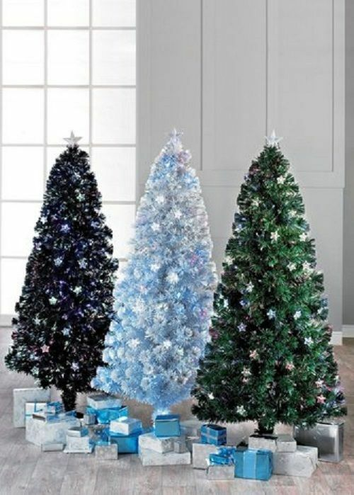 6ft Black White Green COLOUR CHANGING Fibre Optic Christmas Tree With Stars  | eBay - 6ft Black White Green COLOUR CHANGING Fibre Optic Christmas Tree
