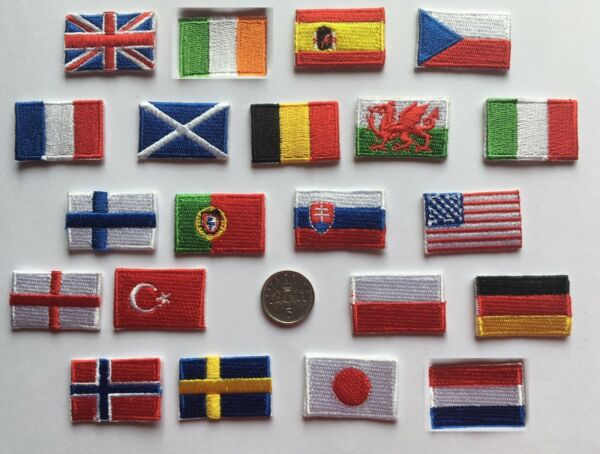 TINY NATIONAL COUNTRY EMBROIDERED FLAG PATCH 3CM X 2CM SEW ON/ IRON ON PATCH
