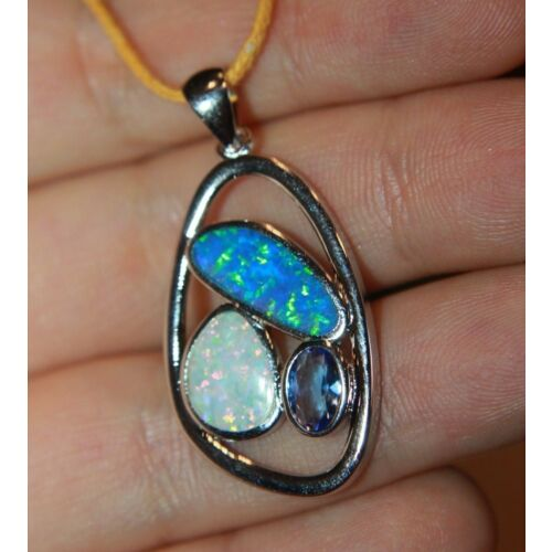 inlaid-fire-opal-topaz-necklace-pendant-gemstone-silver-jewelry-modern-cocktail-