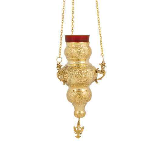 Orthodox Hanging Vigil Lamp: Russian Brass 3 Chain Hanging Vigil Lamp Christian
