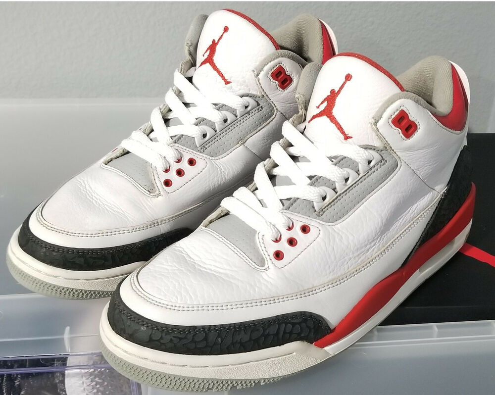 43dc61edca7f Details about Nike Air Jordan III 3 Retro WHITE FIRE RED BLACK CEMENT GREY  OG 136064-120