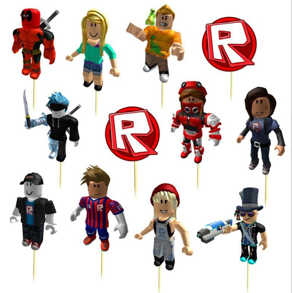 Roblox Cupcake Cake Topper Decoration Party Supplies