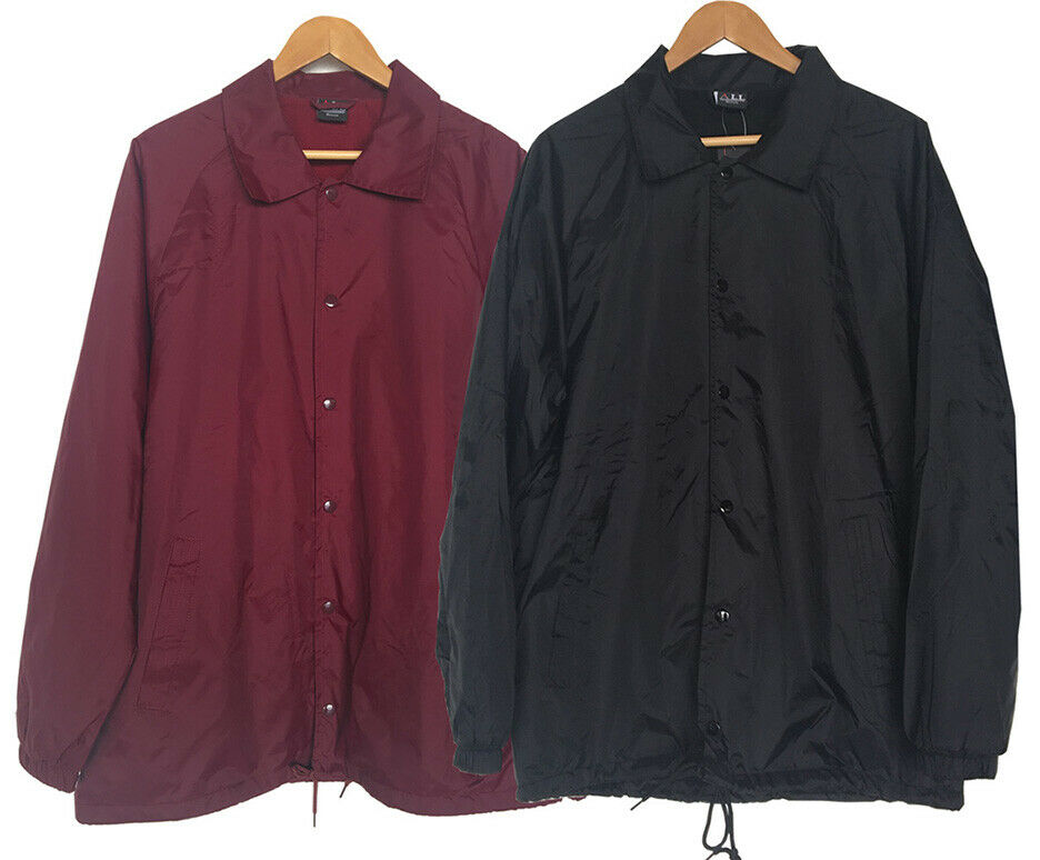 New Men s Lightweight Water Resistant Snap Button Up Windbreaker Coach  Jacket   eBay 153ad5fc54d
