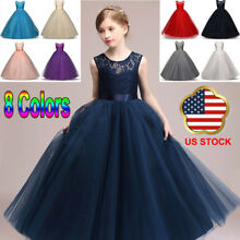Kids Girls Lace Floral Bridesmaid Maxi Long Dress Party Princess Prom Wedding