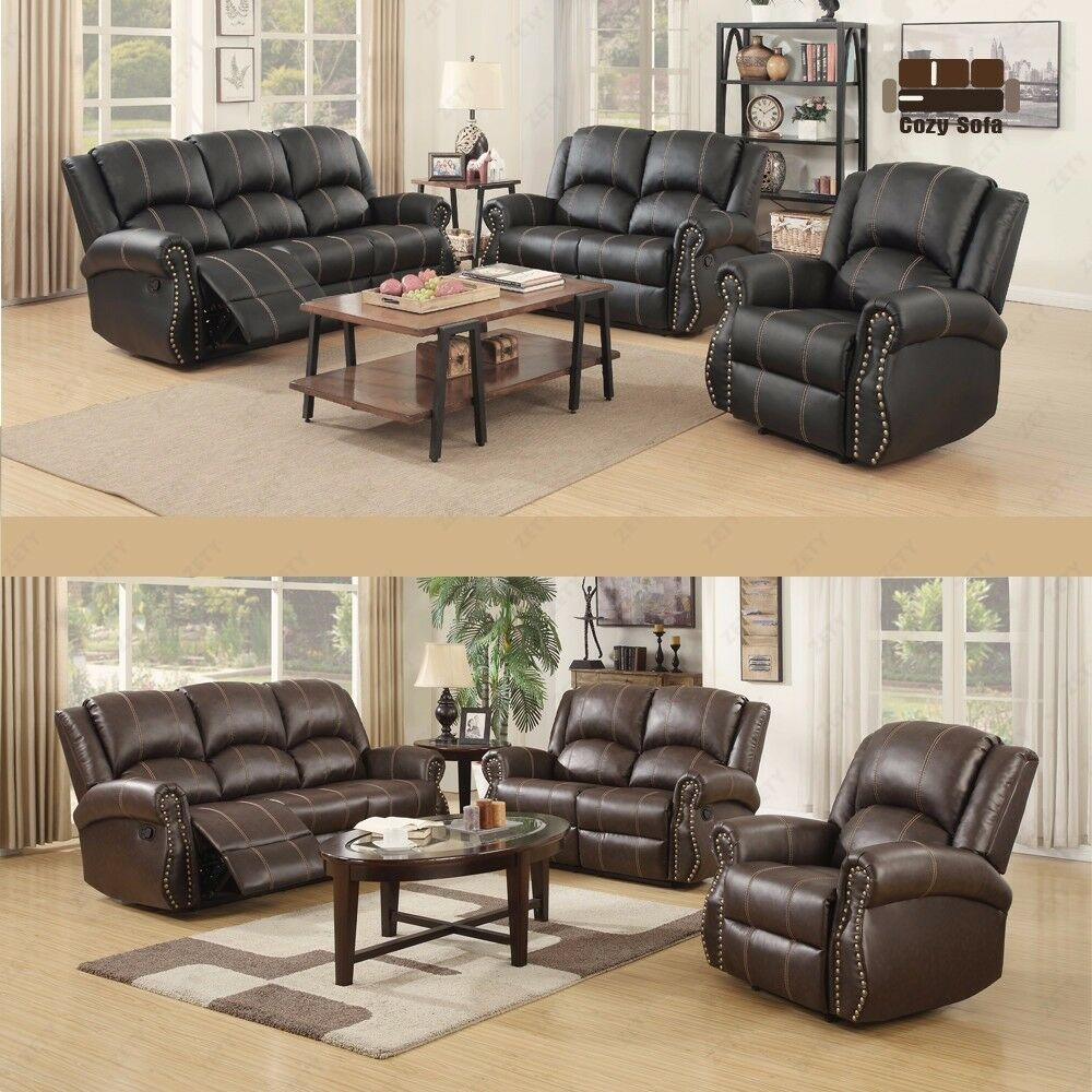 Recliner Leather Sofa Set Loveseat Couch 3 2 1 Seater W Cup